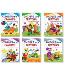Colours with Crayons Set of 6 Cartoon Colouring Books