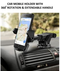 Car Mobile Holder stand 360 degree Double Clamp for Car Dashboard & Windshield with extendable handle