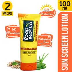 Roop Mantra Sunscreen Lotion SPF 50 UVA Blocker, 100ml, Pack of 2 (Helpful to Protect Sun Burn, Prevents Skin Darkening, Checks Premature Ageing, Nourishes & Refreshing the Skin)