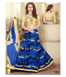 eWaydeal Yellow,Blue Bhagalpuri Silk Sharara Semi Stitched Lehenga - Buy eWaydeal Yellow,Blue Bhagalpuri Silk Sharara Semi Stitched Lehenga Online at Best Prices in India on Snapdeal
