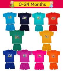 Fashion Biz Baby Boys HalfSleeves T-Shirts and Shorts Joyful Printed Collection (Joy_Set Of 10Pcs)
