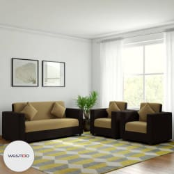 Westido Citrus Fabric 3 + 1 + 1 Cream & Brown Sofa Set with 4 filled Cushions-Wood Furniture - Buy Westido Citrus Fabric 3 + 1 + 1 Cream & Brown Sofa Set with 4 filled Cushions-Wood Furniture Online at Best Prices in India on Snapdeal