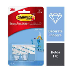 3M Command Clear Small Hooks Pack of 2 - hooks, 4 - strips