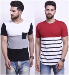 STYLESMYTH Men Regular fit Round neck Colorblocked T - Shirt - Multi