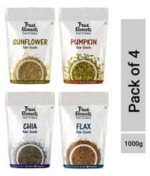 True Elements Pumpkin + Sunflower + Chia + Flax Seeds 250 gm Pack of 4