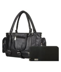 sr sales Black P.U. Shoulder Bag and Wallet Combo