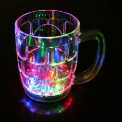 Light Changing Fiber Glass Beer Mug Inductive Rainbow Color Disco Led 7 Colour Changing Mug 350ml