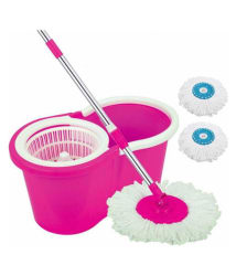 Esquire Double Bucket Mop With Refill 360 Degree Magic Spin Rotating For Perfect Floor Cleaning - Pink (Mop Set/Mop Bucket)