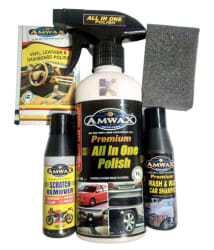Amwax Car And Bike Care Kit (All In One 250 Ml+Wash And Wax 50 Ml+Scratch Remover 50 Ml+2 Pouch Dashboard 10 Ml + 1 Sponge)