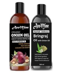Aromine ONION Oil-(60ml) And BHIRANGRAJ Oil (100ml) Combo-160ml 160 ml Pack of 2