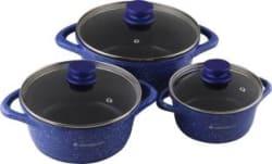 Wonderchef Ceramide Set Blue Cook and Serve Casserole 3900 ml, 2300 ml, 1200 ml