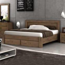 Evok Nicole Engineered Wood King Drawer Bed(Finish Color - Light Walnut)