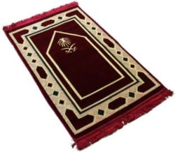 MOMIN BAZAAR Velvet Prayer Mat Red, Large