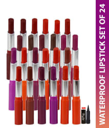 ADS Waterproof 3D Effect Cinema Lipstick Pack of 24 & Kajal Multicolour 1.5 gm