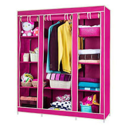 Fancy & Portable Storage Wardrobe Triple Door Foldable Wardrobe / Foldable Almirah/ Cloth Stand/ Cloth Rack/Cupboard - Color As Per Stock
