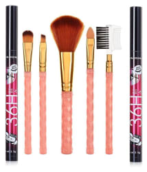RTB Makeup Brush Set of 5 with 2 Pencil Eyeliner 36 hrs Black 10 gm Pack of 3
