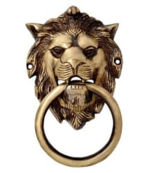 Colletible India Brass Lion Mouth Door Knocker Antique Lion Mouth Holding Ring Door Handle