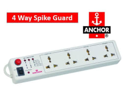 Anchor 4 Way Socket Spike Guard / Extension Chord with Master Switch (White)