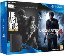 Sony PlayStation 4 (PS4) Slim 1 TB with The Last of Us and Uncharted 4 Jet Black