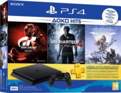 Sony PlayStation 4 (PS4) Slim 500 GB with Uncharted 4, Horizon Zero Dawn (Complete Edition) and Gran Turismo Sport Jet Black