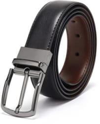 kaezri Men Casual Black Synthetic Reversible Belt