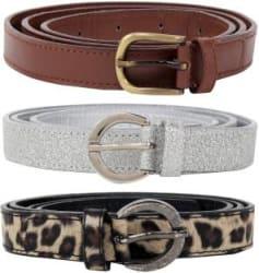 Jainsons Women Silver, Brown, Grey Artificial Leather Belt