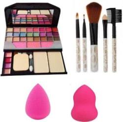 Butees18 Makeup kit + 5 pcs Makeup Brush + 2 pc Blender Puff Combo(Pack of 8)