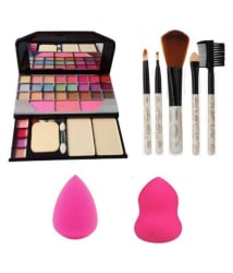 RTB Combo Of Makeup Kit + 5 pcs Makeup Brush + 2 pc Blender Puff Eye Shadow Palette gm Pack of 4