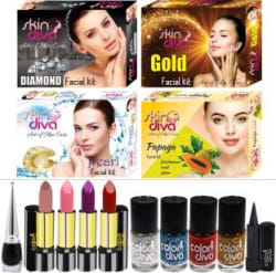 SkinDiva Buy 4 Pc Facial Combo With 10 Pc Makeup Kit Pack of 14
