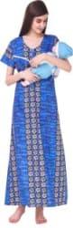 MILIT Women Maternity/Nursing Nighty Blue
