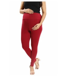 Mamma s Maternity Maroon Cotton Lycra Maternity Leggings/Tights