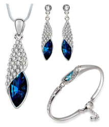 Om Jewells Crystal Jewellery Combo of Exquisite Rhodium Plated Designer nPendant Necklace Set and Bangle Bracelet for Girls and Women CO100062: Buy Om Jewells Crystal Jewellery Combo of Exquisite Rhodium Plated Designer nPendant Necklace Set and Bangle Bracelet for Girls and Women CO100062 Online in India on Snapdeal