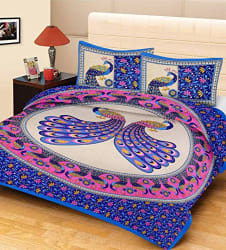 TOP ONE Cotton Double Bedsheet with 2 Pillow Covers