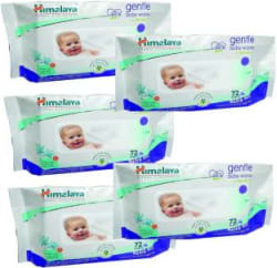 Himalaya Gentle Baby Wipes (72 Pcs - Packs of 5) 5 Pieces