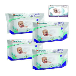 Himalaya Gentle Baby Wipes (72+12 Pieces - Pack of 4)