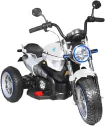 Toy House 3-Wheel Hot Rod Bike Rechargeable battery operated Ride-on for kids(2 to 6yrs) Bike Battery Operated Ride On White