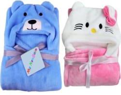 My New Born Cartoon Crib Hooded Baby Blanket Cotton, Pink - Blue