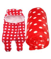 BRANDONN Red Flannel New born Baby AC Blanket ( 98 cm - 78 cm- 2 pcs)