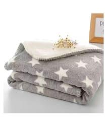 Brandonn Grey Flannel New born Baby AC Blanket ( 100 cm - 75 cm- 1 pcs)