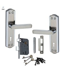 Atom 606 Steel made Handle set with Double Stage Both side key Lock 3 Keys CP Matt Finish