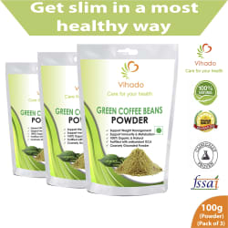 Vihado Organic Green Coffee beans Powder for weight loss 100 gm Multivitamins Powder Pack of 3