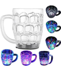 Casotec Amazing Light Changing Fibre Glass Beer LED Mug With Inductive Rainbow Color Disco Led 7 Colour Changing Liquid Activated Lights Multi Purpose Use Mug/Cup 295ML