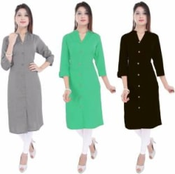 Blezza Casual Solid Women Kurti Pack of 3, Black, Grey, Light Green