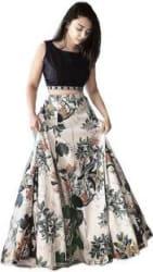 niklufashion Floral Print Semi Stitched Lehenga & Crop Top Multicolor