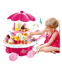 Civil Ice Cream Play Cart Kitchen Set Toy with Lights and Music, Small