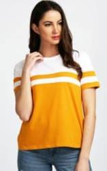 Aelomart Casual Regular Sleeve Color Block Women White, Yellow Top
