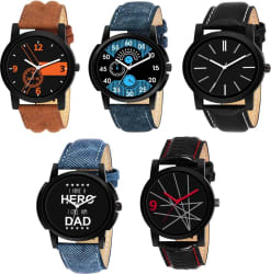 LEBENSZEIT New Stylish Set Of Five Combo Watch For Men & Women Analog Watch - For Boys & Girls