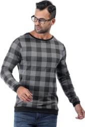 Rodid Checkered Men Boat Neck Grey T-Shirt