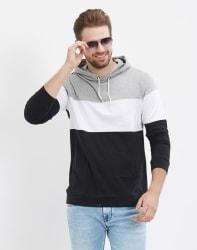 LEWEL Color block Men Hooded Multicolor T-Shirt