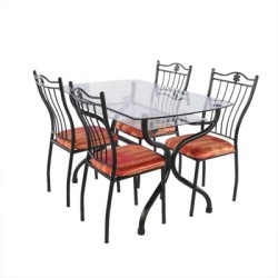Irony Furniture Glass 4 Seater Dining Set Finish Color - Black